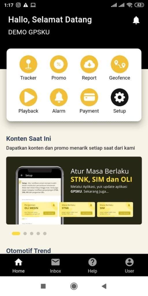 menu aplikasi gps tracking