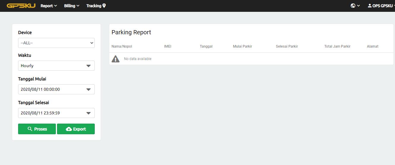 parking report server gps