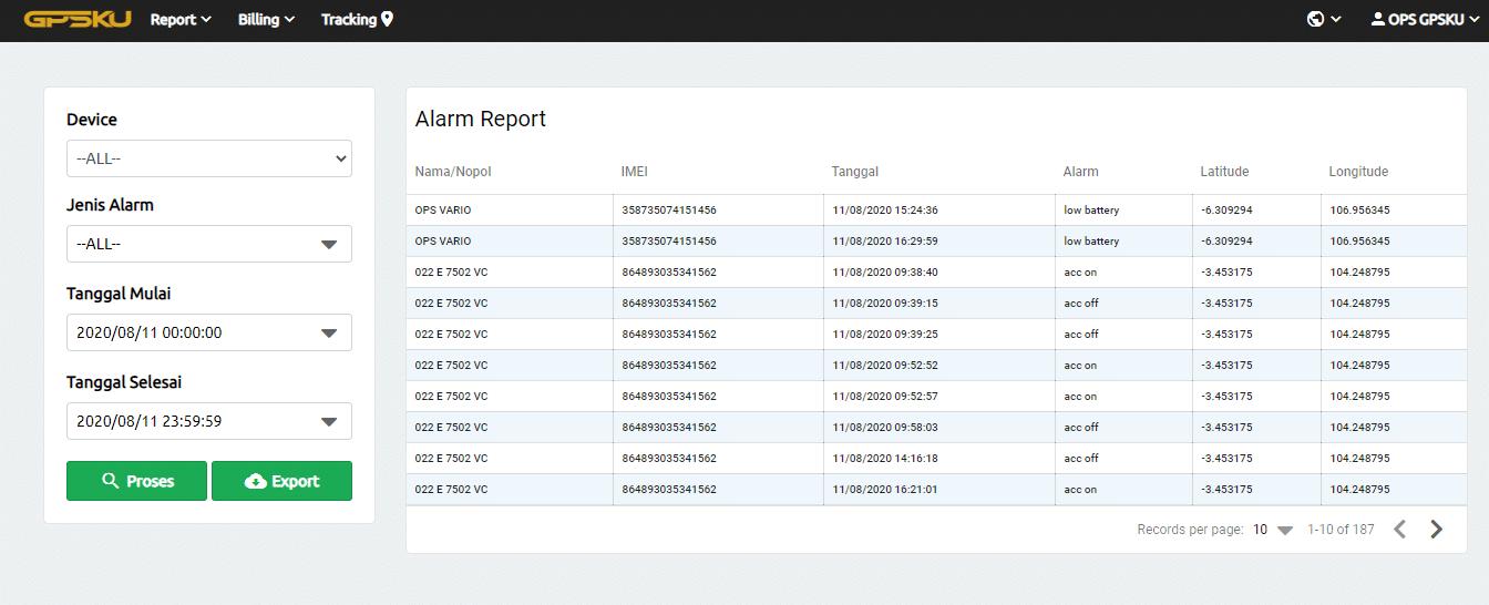 alarm report server gpsku